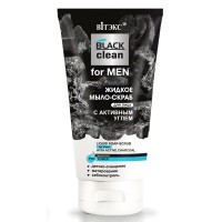 """Liquid Soap-Scrub for Face with Active Charcoal """"Black Clean for Men"""""""